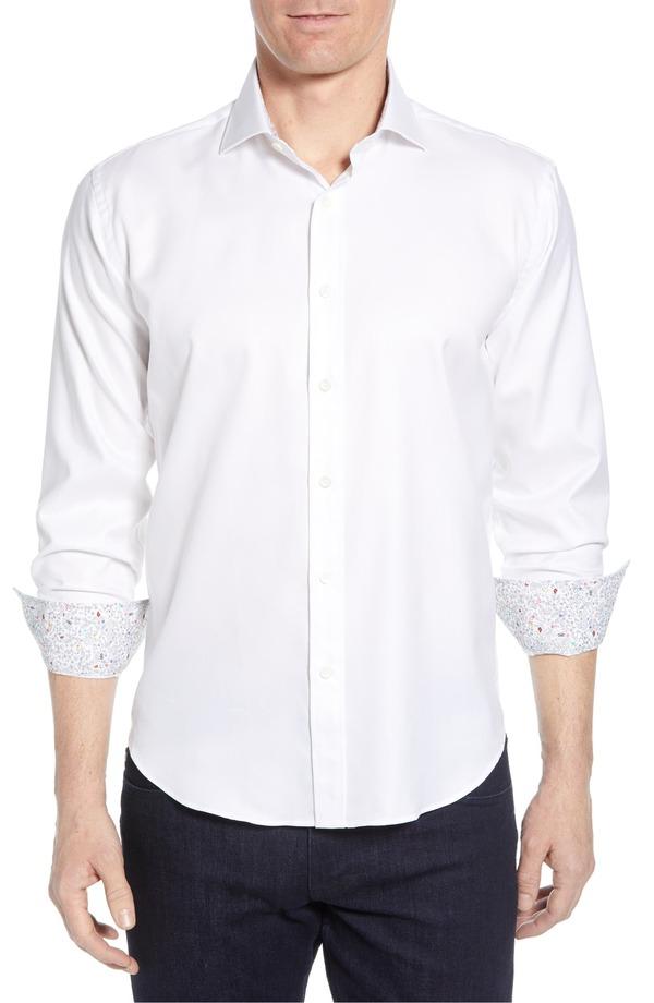 ブガッチ メンズ シャツ トップス Bugatchi Shaped Fit Floral Cuff Performance Shirt White