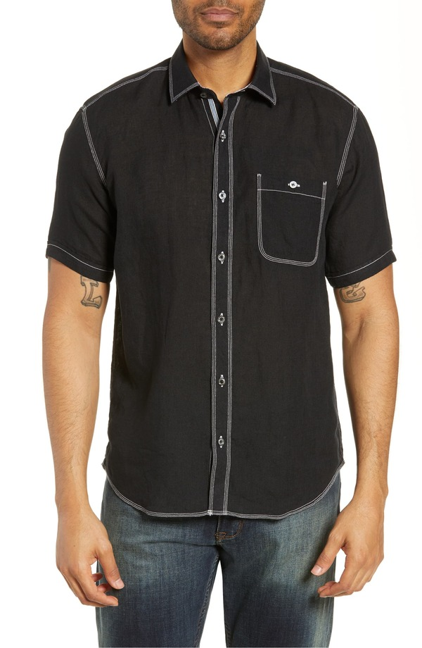 ブガッチ メンズ シャツ トップス Bugatchi Shaped Fit Cotton Shirt Black