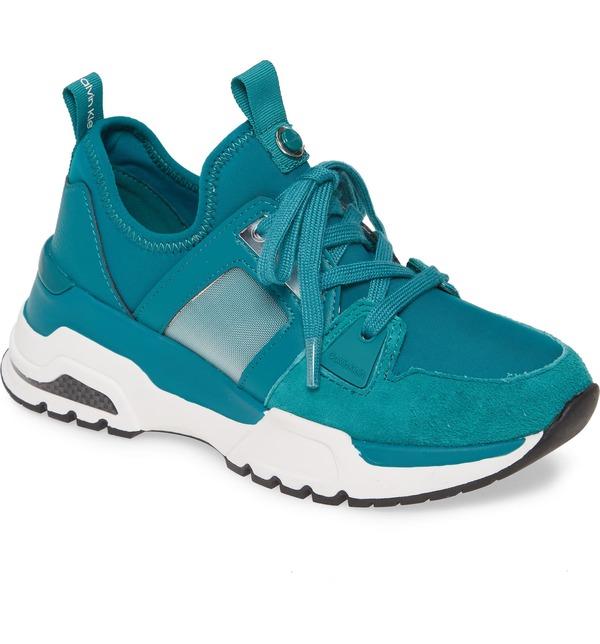カルバンクライン レディース スニーカー シューズ Calvin Klein Huma Sneaker (Women) Spruce Fabric