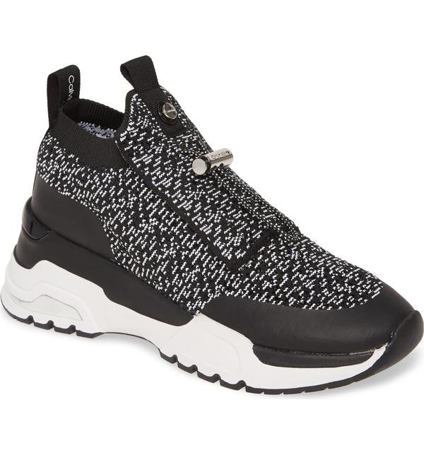 カルバンクライン レディース スニーカー シューズ Calvin Klein Hue Sock Sneaker (Women) Black Fabric