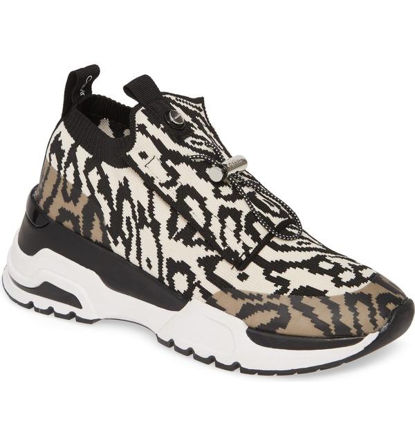 カルバンクライン レディース スニーカー シューズ Calvin Klein Hue Sock Sneaker (Women) White Animal Print Fabric