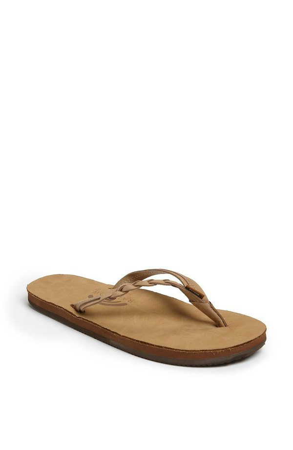 レインボー レディース サンダル シューズ Rainbow 'Flirty' Braided Leather Flip Flop (Women) Sierra Brown