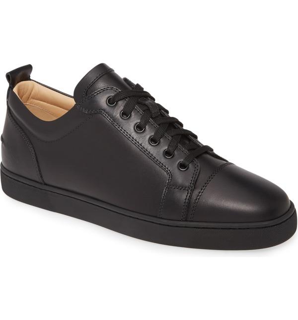 クリスチャン・ルブタン メンズ スニーカー シューズ Christian Louboutin Louis Junior Low Top Sneaker (Men) Black/ Black