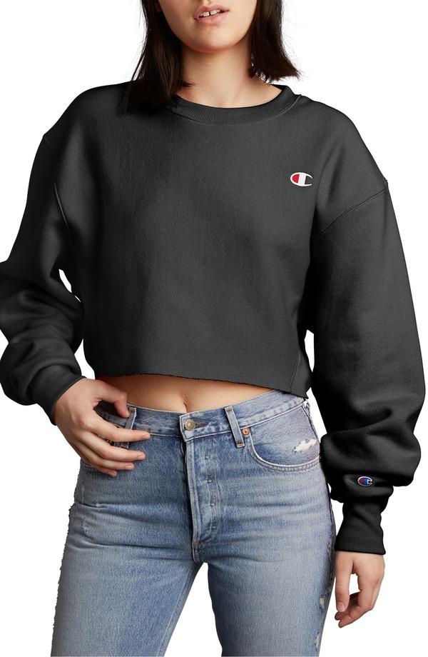 チャンピオン レディース ニット・セーター アウター Champion Crop Reverse Weave Sweatshirt Black