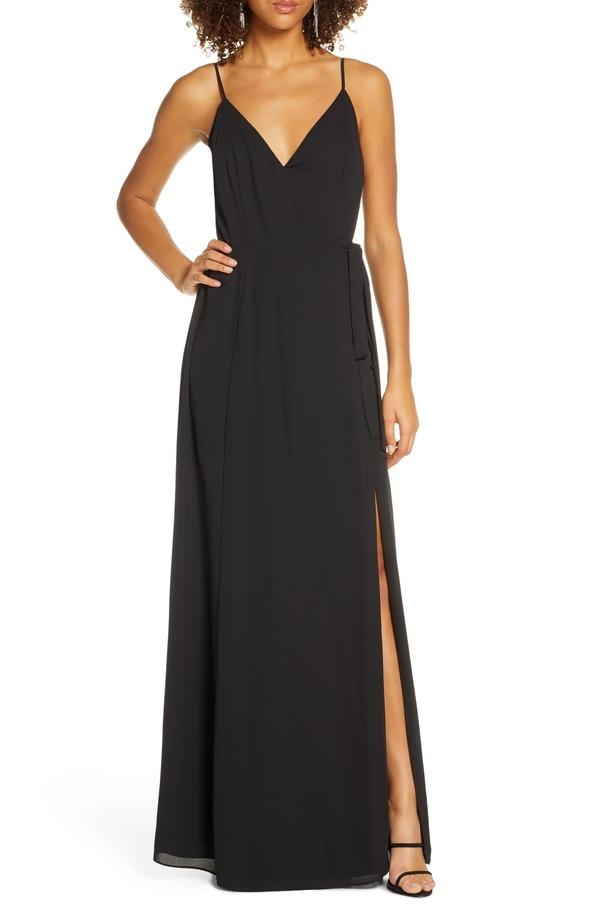 ワイフ レディース ワンピース トップス WAYF The Angelina Slit Wrap Gown Black