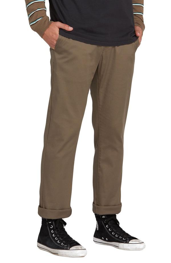 ボルコム メンズ カジュアルパンツ ボトムス Volcom Frickin Slim Fit Modern Stretch Chino Pants Mushroom