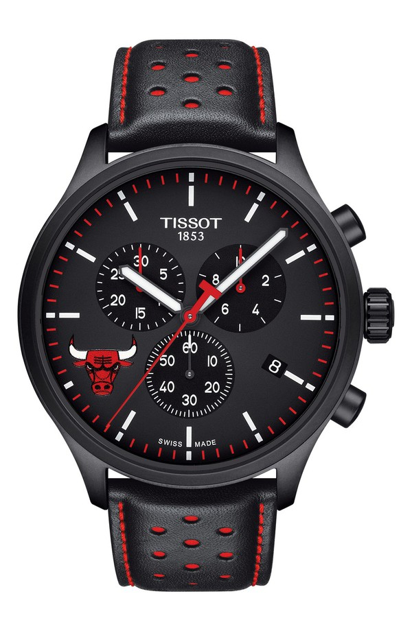 ティソット メンズ 腕時計 アクセサリー Tissot Chrono XL NBA Leather Strap Watch, 45mm Black/ Red