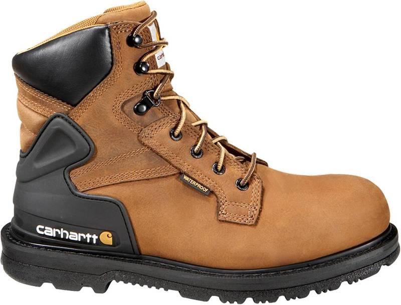 送料無料 サイズ交換無料 カーハート メンズ シューズ ブーツ レインブーツ 格安 Bison Brown Men's Boots Waterproof Work Tanned Carhartt Oil 送料込 6''