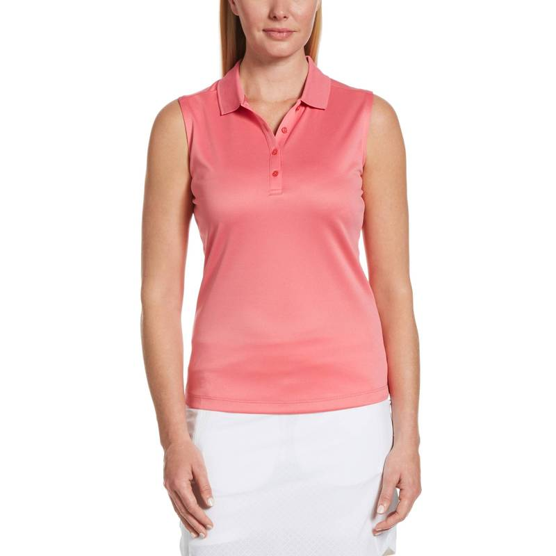 キャラウェイ レディース シャツ トップス Callaway Women's Essential Solid Knit Sleeveless Golf Polo Camellia Rose
