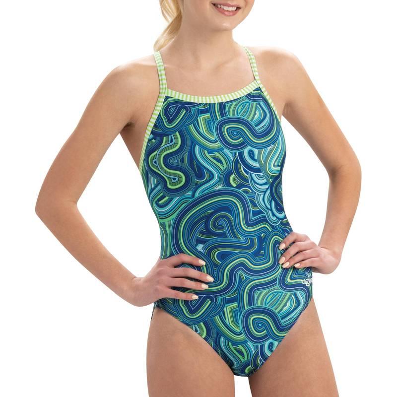 送料無料 サイズ交換無料 ドルフィン レディース 水着 バースデー 記念日 ギフト 贈物 お勧め 通販 上下セット Waves 出群 For Days Print Uglies Women's One Back V-2 Swimsuit Dolfin Piece