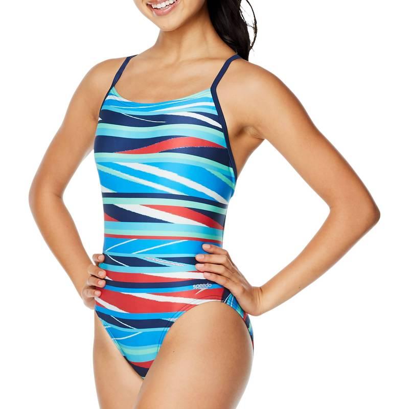 送料無料 サイズ交換無料 スピード レディース 在庫一掃 水着 上下セット PARTY PATTERN One Relay Printed Women's NEW ARRIVAL Piece Back Swimsuit Speedo