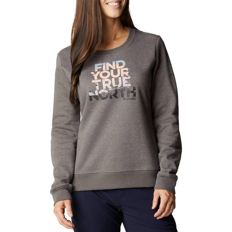 送料無料 サイズ交換無料 !超美品再入荷品質至上! コロンビア レディース アウター パーカー スウェット Charcoal Heathr クリアランスsale 期間限定 True II Graphic Nrth Mountain Hart Women's Sweatshirt Crew Columbia