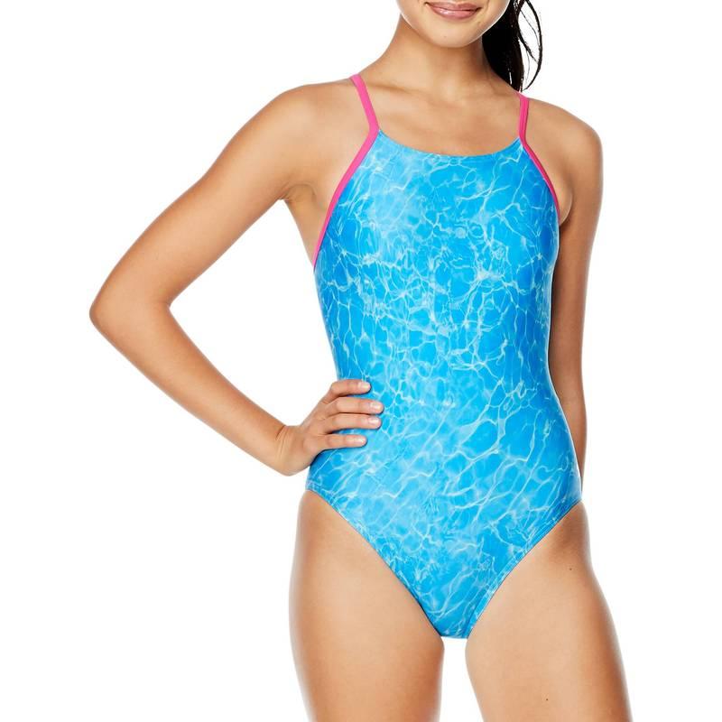 送料無料 サイズ交換無料 代引き不可 スピード レディース 水着 人気 おすすめ 上下セット SHIMMERING POOL Swimsuit Flyer Women's Piece Speedo One BLUE Printed