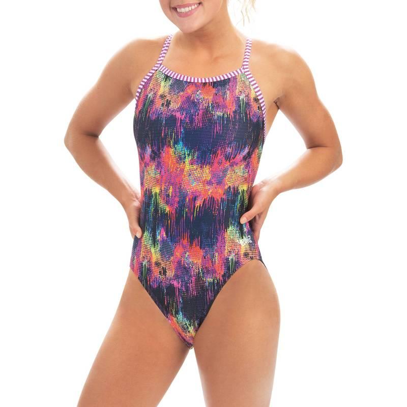 実物 送料無料 サイズ交換無料 ドルフィン レディース 最新号掲載アイテム 水着 上下セット City Lights Dolfin One Women's Back Print Uglies Piece Swimsuit V-2