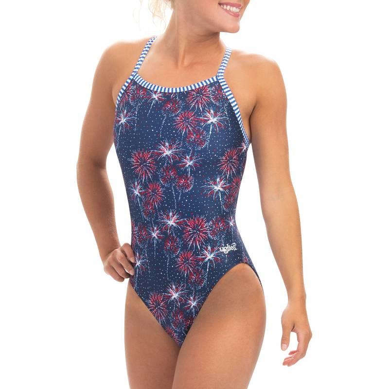送料無料 サイズ交換無料 ドルフィン レディース 水着 上下セット Fireworks Dolfin V-2 Back Piece Women's 爆買いセール Swimsuit Print One Uglies 送料無料(一部地域を除く)