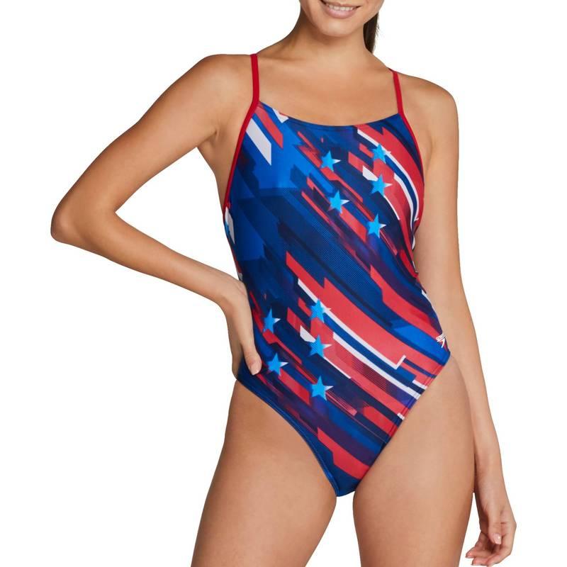 送料無料 春の新作 サイズ交換無料 スピード レディース 70%OFFアウトレット 水着 上下セット Red White Blue Speedo Piece Swimsuit Women's Stripes Back Relay and One Stars