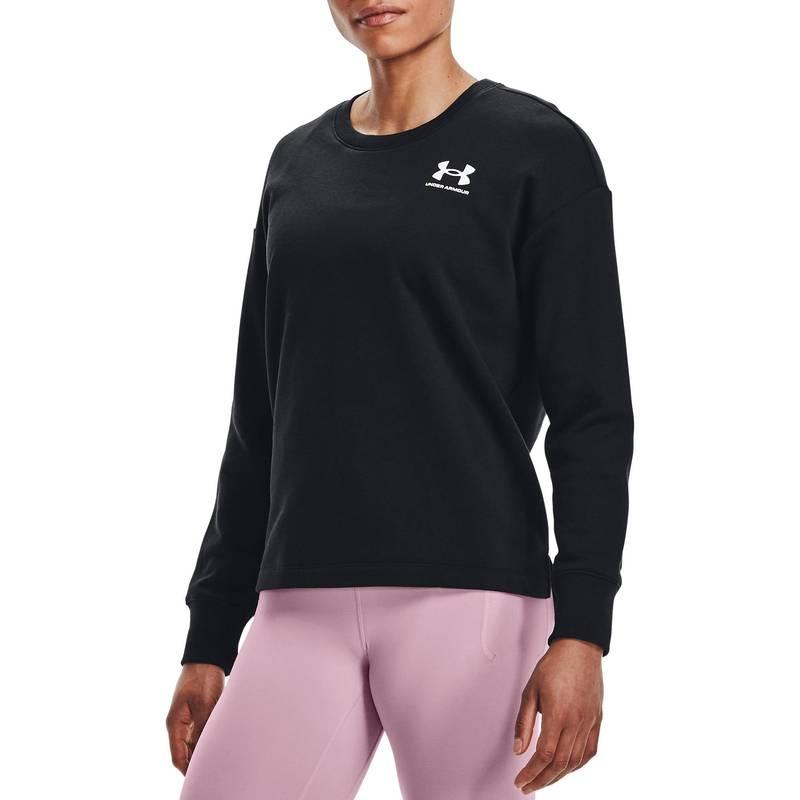 送料無料 サイズ交換無料 アンダーアーマー レディース アウター パーカー スウェット Black Armour 日本全国 Under Women's 新作販売 Rival Sweatshirt Fleece Crewneck Oversize