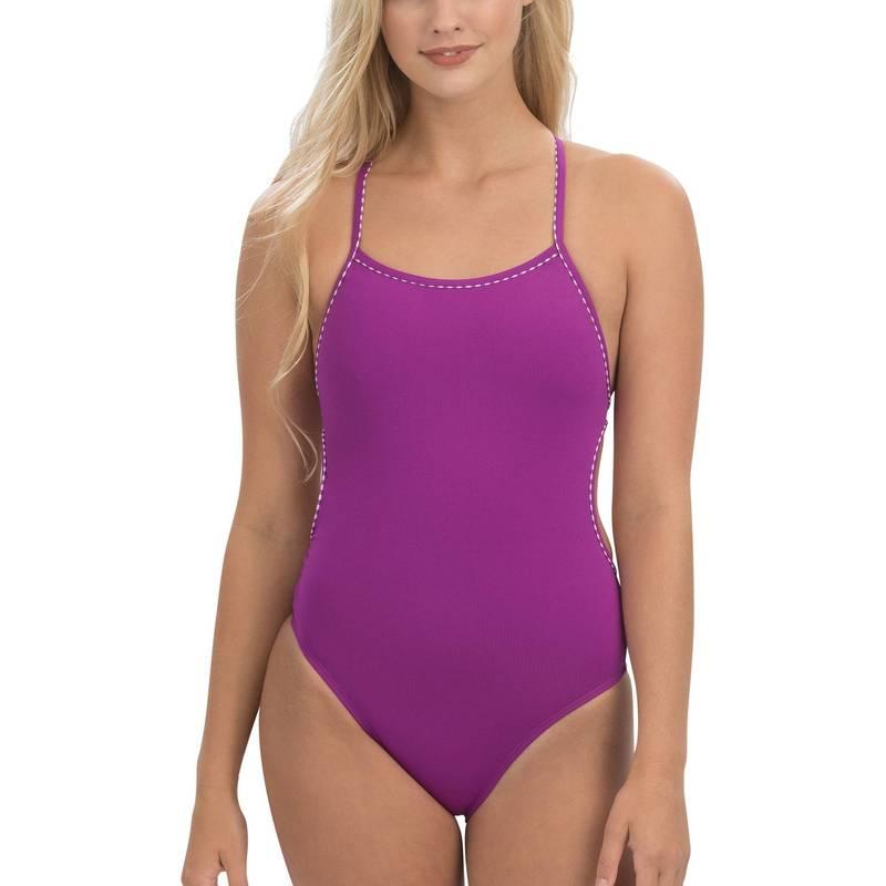 送料無料 サイズ交換無料 ドルフィン レディース 水着 上下セット Purple Dolfin Women's Uglies One Solid 選択 販売実績No.1 Tie Piece Swimsuit Revibe Back