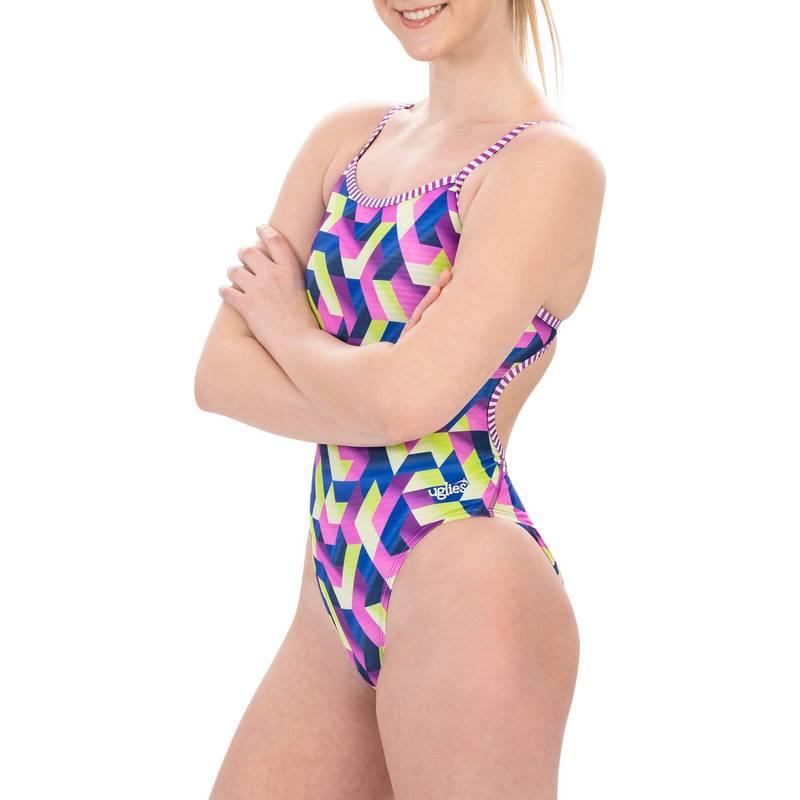 送料無料 百貨店 サイズ交換無料 ドルフィン レディース 水着 上下セット <セール&特集> DIGITAL FLOW Dolfin String Back Print Uglies Swimsuit One Women's Piece