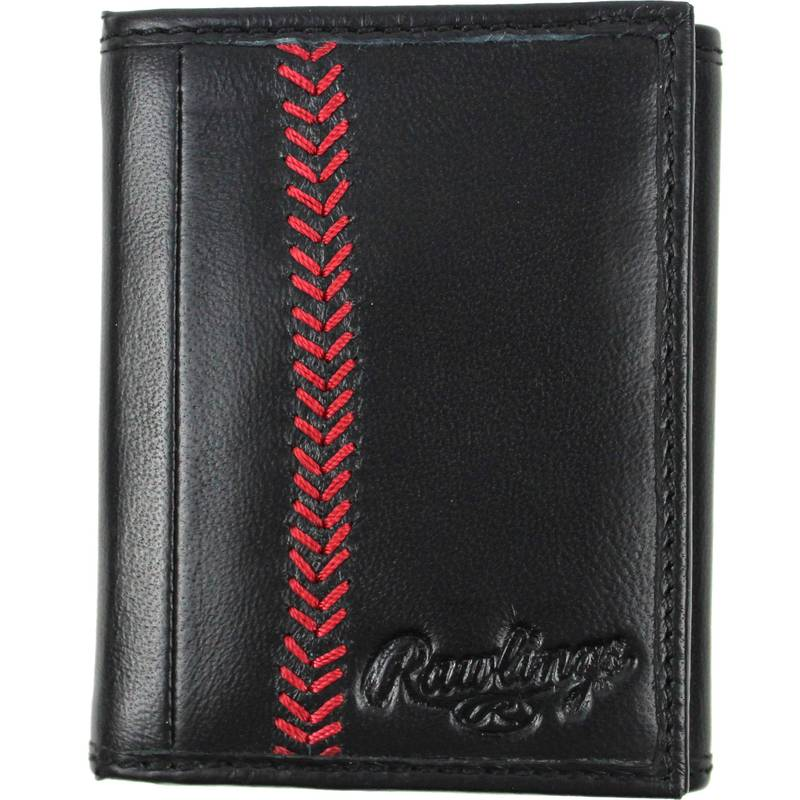 ローリングス メンズ 財布 アクセサリー Rawlings Baseball Stitch Leather Trifold Wallet Black