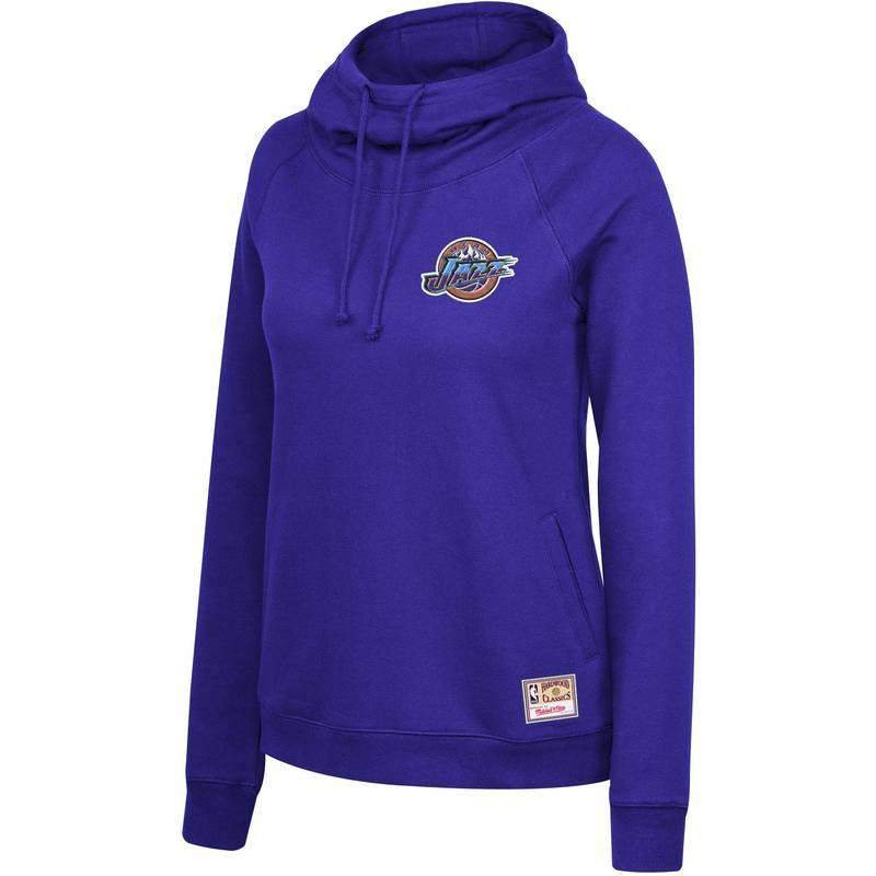 送料無料 サイズ交換無料 ミッチェルネス レディース アウター パーカー スウェット Mitchell Ness Jazz Utah Purple 国産品 Neck サービス Pullover Funnel Women's Hoodie