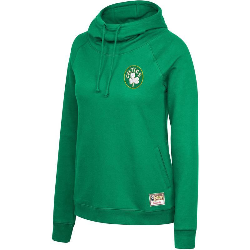 送料無料 サイズ交換無料 今ダケ送料無料 ミッチェルネス レディース アウター パーカー スウェット AL完売しました。 Mitchell Ness Women's Hoodie Celtics Funnel Green Neck Pullover Boston