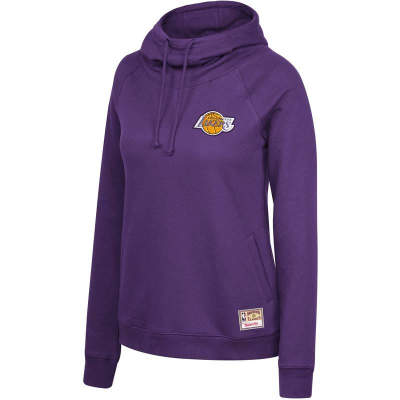 送料無料 サイズ交換無料 ミッチェルネス レディース アウター パーカー スウェット Mitchell Ness Hoodie Purple Pullover 在庫一掃 税込 Neck Angeles Funnel Women's Lakers Los