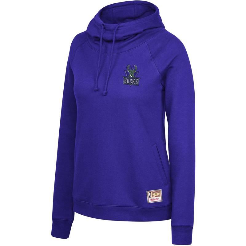 送料無料 サイズ交換無料 ミッチェルネス 信用 レディース アウター パーカー スウェット Mitchell Ness Milwaukee Purple Pullover Neck Bucks Hoodie Women's 贈物 Funnel