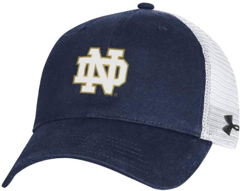 送料無料 サイズ交換無料 アンダーアーマー メンズ アクセサリー 帽子 Under Armour Men's Notre 人気の定番 Adjustable Cotton Dame Fighting 定価の67%OFF Trucker Hat Navy Irish