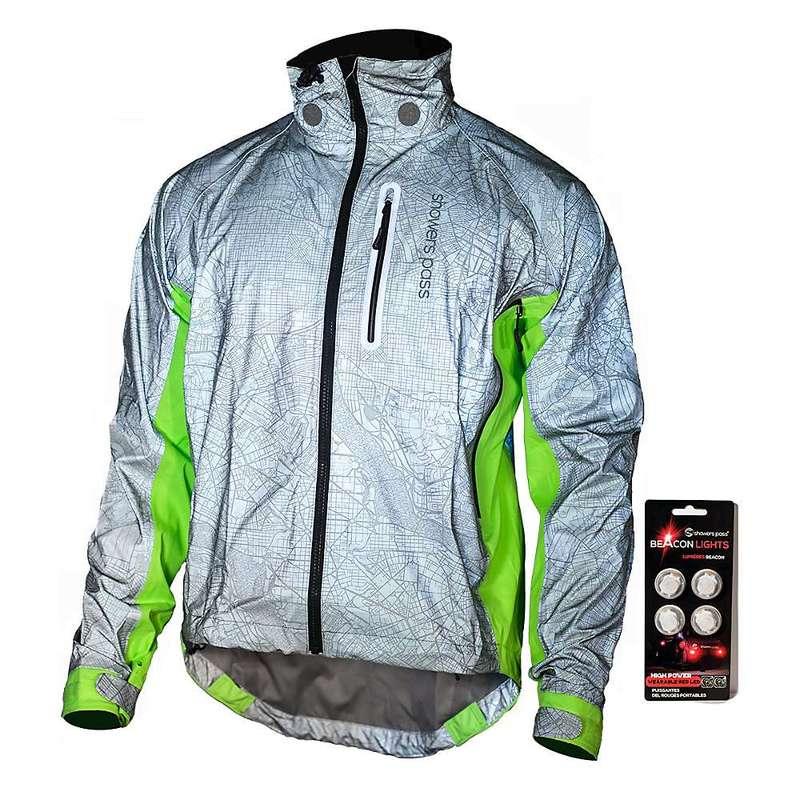 シャワーパス メンズ ジャケット・ブルゾン アウター Showers Pass Men's Hi-Vis Torch Jacket Reflective Silver / Neon Green