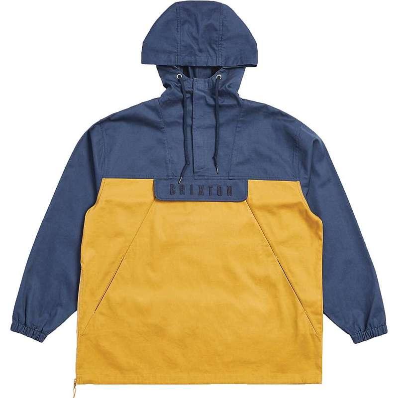 ブリクストン メンズ ジャケット・ブルゾン アウター Brixton Men's Breton Anorak Jacket Washed Navy / Maize