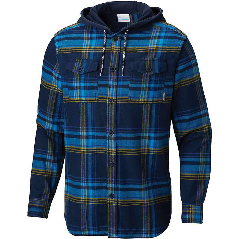 コロンビア メンズ ジャケット・ブルゾン アウター Columbia Men's Flare Gun Flannel Hoodie Collegiate Navy Multi Plaid