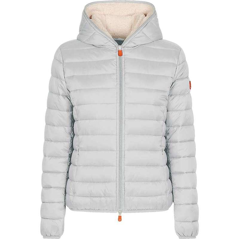 セイブ ザ ダック レディース ジャケット・ブルゾン アウター Save The Duck Women's Hooded Sherpa Jacket Frozen Grey