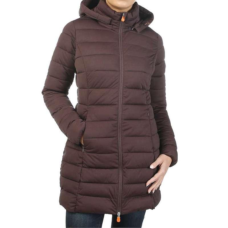 セイブ ザ ダック レディース ジャケット・ブルゾン アウター Save The Duck Women's Signature Stretch Long Jacket 1250 Burgundy Black