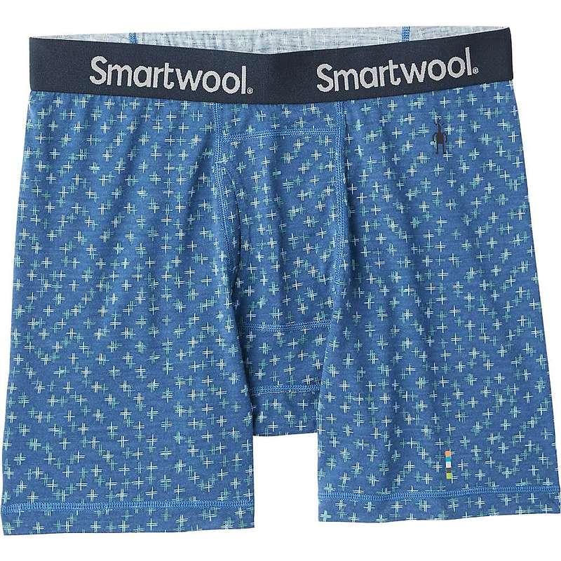 スマートウール メンズ ボクサーパンツ アンダーウェア Smartwool Men's Merino 150 Printed Boxer Brief Alpine Blue Tick Stitch Print