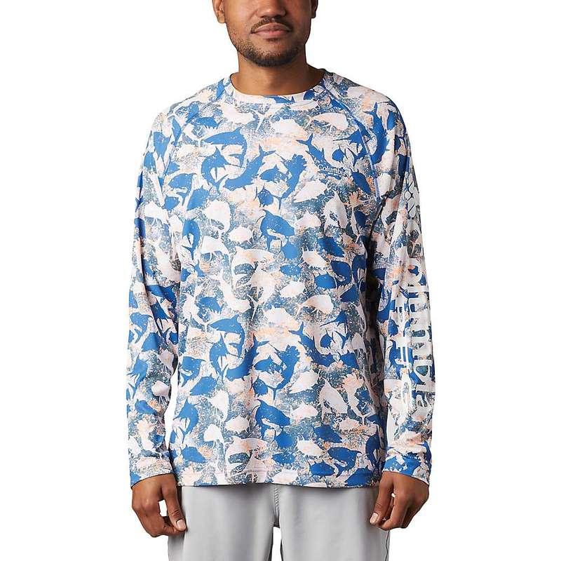 コロンビア メンズ Tシャツ トップス Columbia Men's Super Terminal Tackle LS Shirt Vivid Blue Inside Out Camo