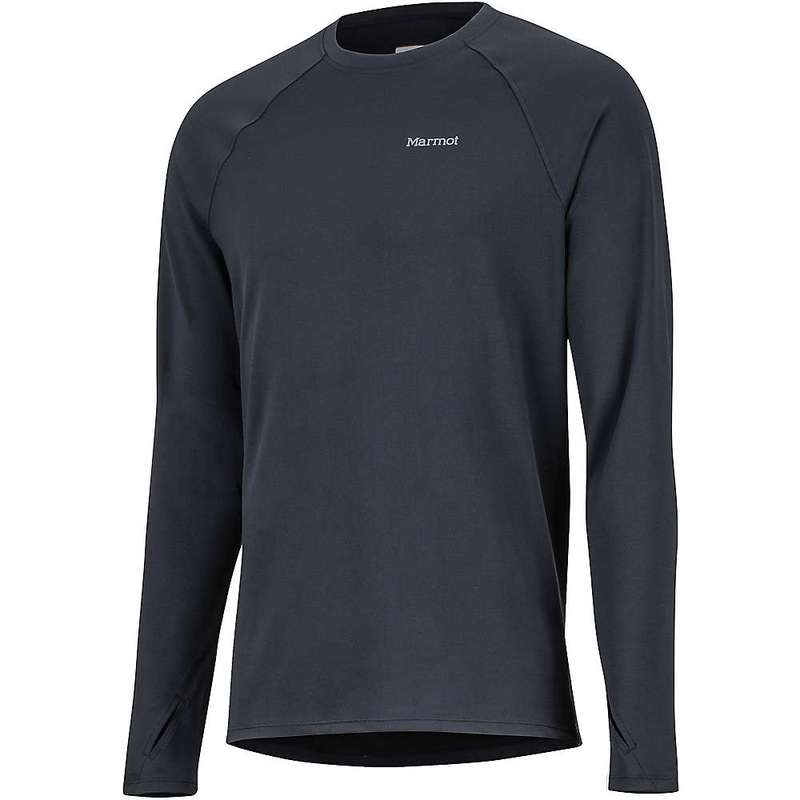 マーモット メンズ Tシャツ トップス Marmot Men's Midweight Harrier LS Crew Black