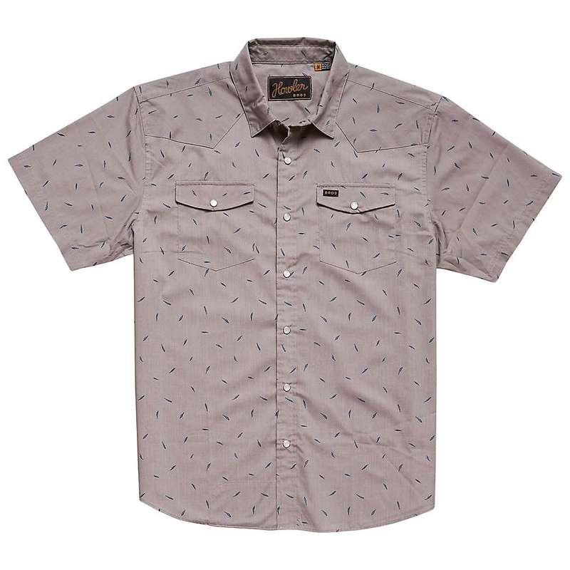 ハウラーブラザーズ メンズ シャツ トップス Howler Brothers Men's H Bar B Snapshirt Falling Feathers Print  Dove Grey