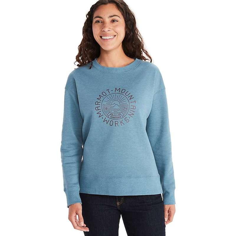 送料無料 サイズ交換無料 マーモット レディース アウター トラスト パーカー スウェット Cascade Heather Mountain Crew-Neck Women's 激安☆超特価 Blue Marmot Works Sweatshirt