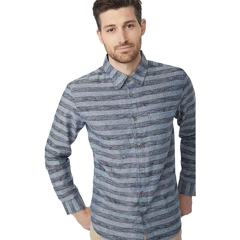 テンツリー メンズ シャツ トップス Tentree Men's Mancos LS Button Up Heathered Dark Denim-Woodgrain Stripe AOP Black