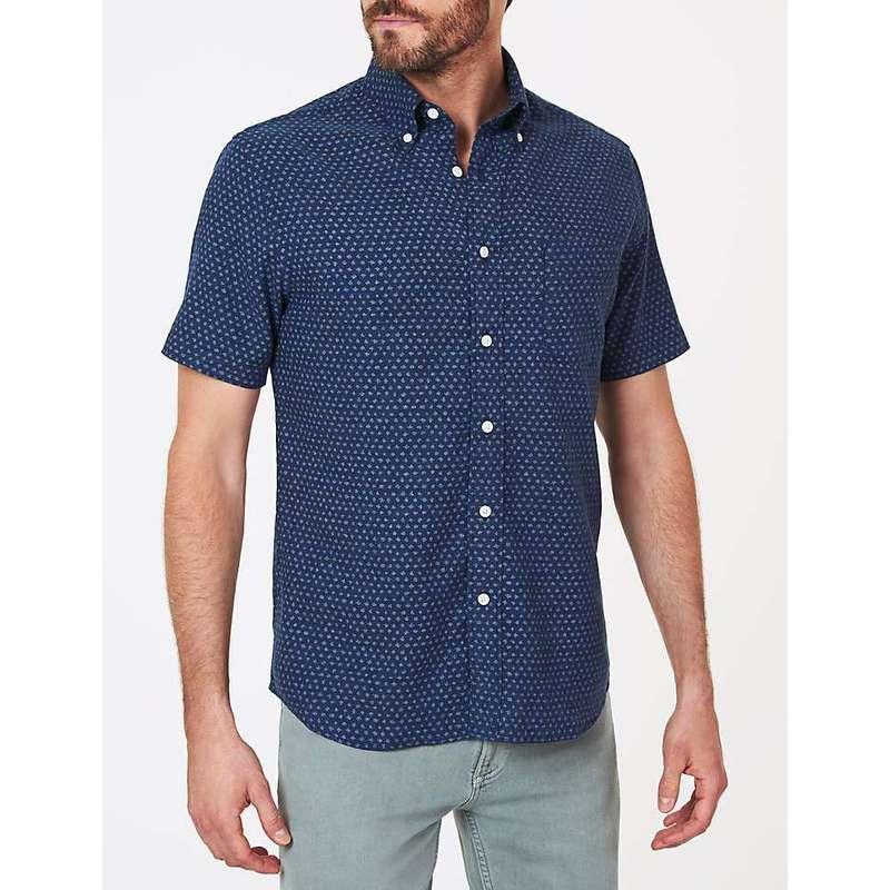 ファレティ メンズ シャツ トップス Faherty Men's SS Pacific Shirt Navy Fleck