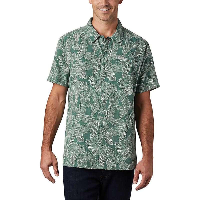 コロンビア メンズ シャツ トップス Columbia Men's Lakeside Trail SS Shirt Thyme Green Rad Palms Print