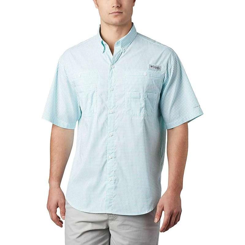 コロンビア メンズ シャツ トップス Columbia Men's Super Tamiami SS Shirt Bright Aqua Gingham