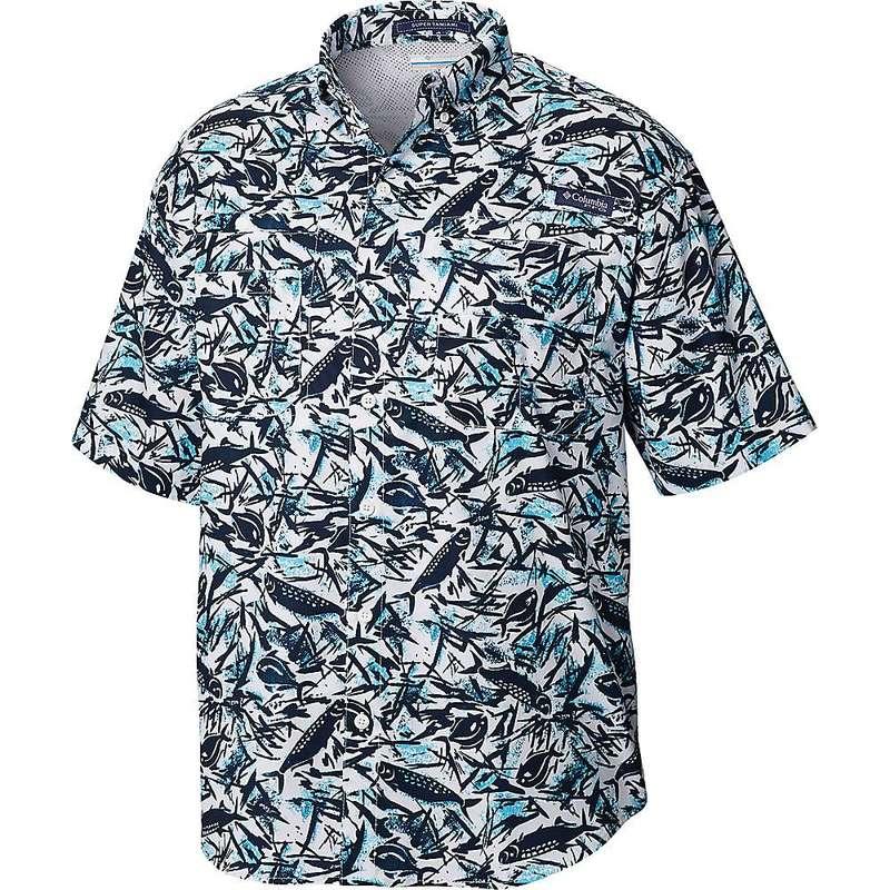 コロンビア メンズ シャツ トップス Columbia Men's Super Tamiami SS Shirt Collegiate Navy Tarpons N Permits Print