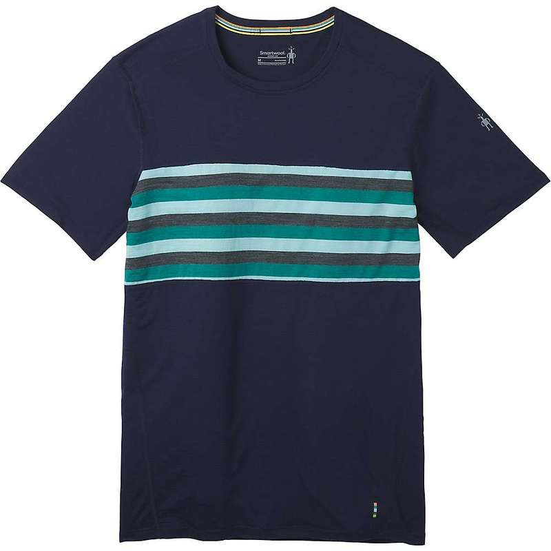 スマートウール メンズ Tシャツ トップス Smartwool Men's Merino 150 Colorblock SS Top Deep Navy