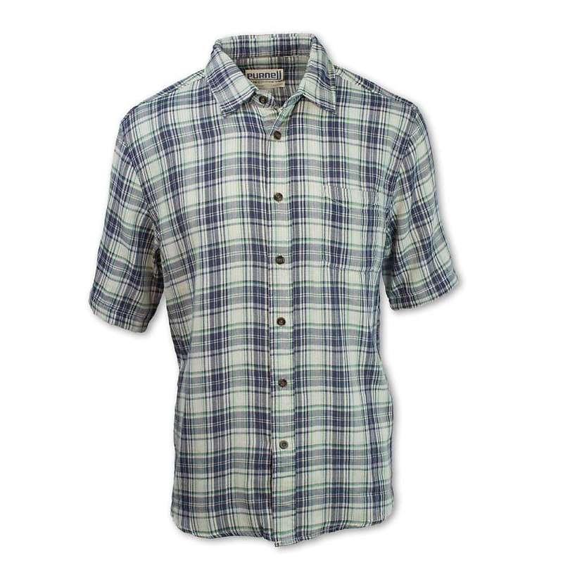 パーネル メンズ シャツ トップス Purnell Men's Double Sided Plaid Button Up SS Shirt Navy/Contrast Stripe