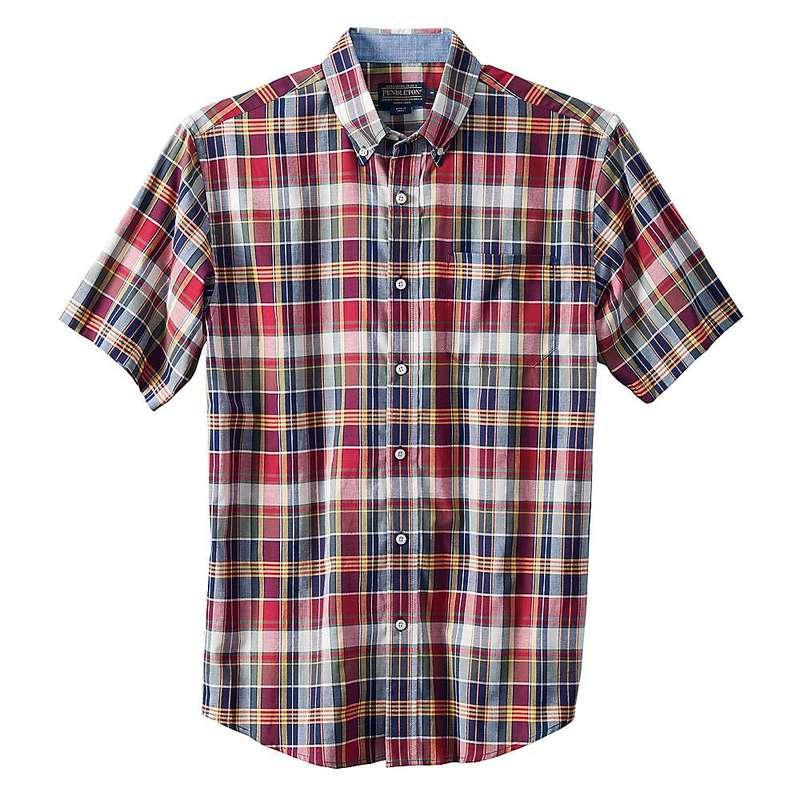 ペンドルトン メンズ シャツ トップス Pendleton Men's S/S Seaside Button Down Shirt Red Navy Gold Plaid