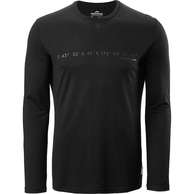 カトマンズ メンズ シャツ トップス Kathmandu Men's Core Spun L/S Print Crew Top Black