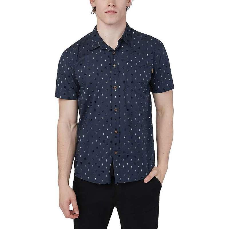 テンツリー メンズ シャツ トップス Tentree Men's Cotton SS Button Up Shirt Dark Ocean Blue - Small Tree Aop