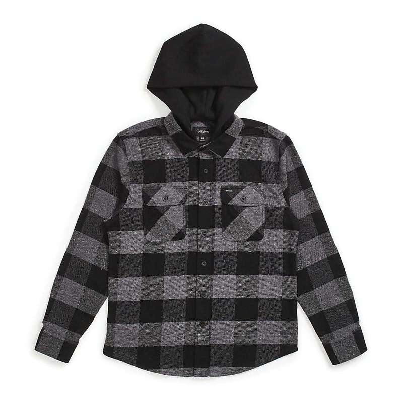 ブリクストン メンズ シャツ トップス Brixton Men's Bowery Hood LS Flannel Shirt Black / Heather Grey